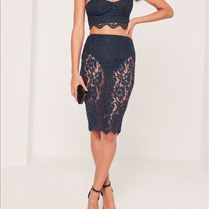 NWT Missguided Blue Lace Skirt  With Panty Insert